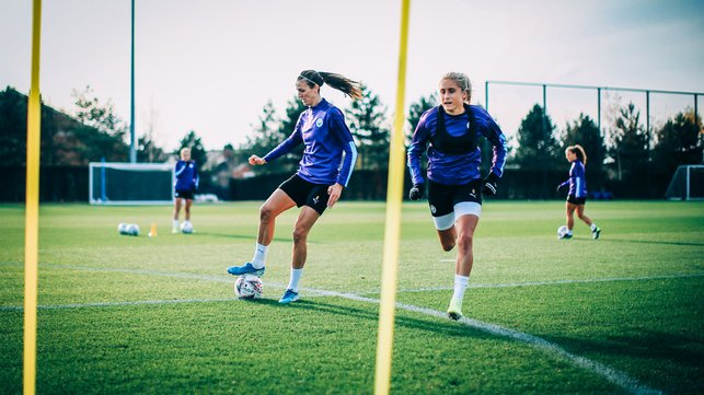 UP FOR THE CUP : Jill Scott and Steph Houghton get in the groove ahead of our Continental Cup trip to Everton
