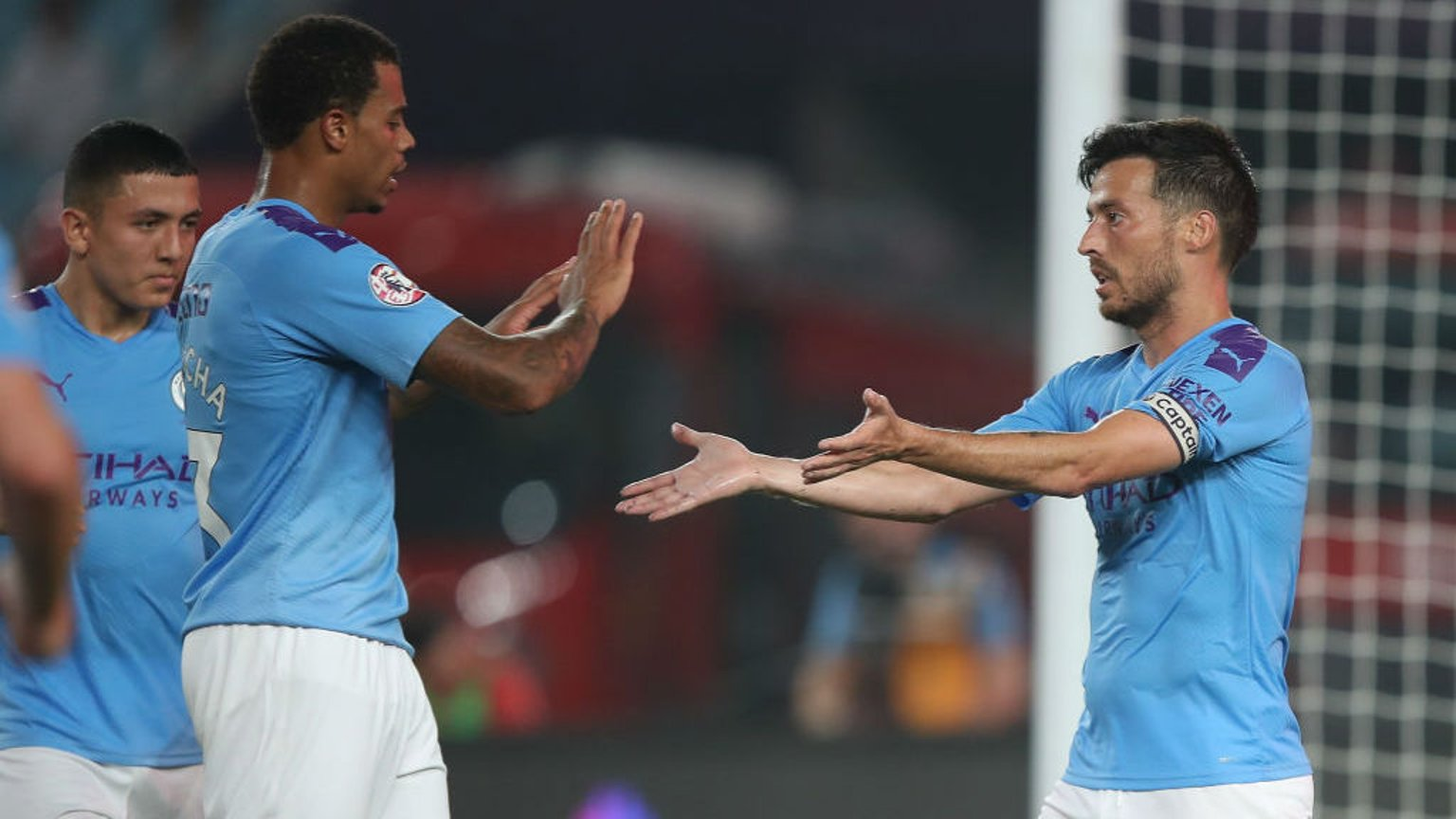 LEVEL BEST: Lukas Nmecha salutes David Silva after Merlin's wonderful goal had brought us back on level terms