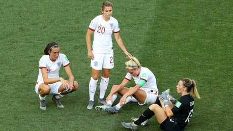 PAIN GAME: The expressions say it all as Jill Scott, Karen Carney, Steph Houghton and Carly Telford react to the Lionesses' 2-1 loss to Sweden