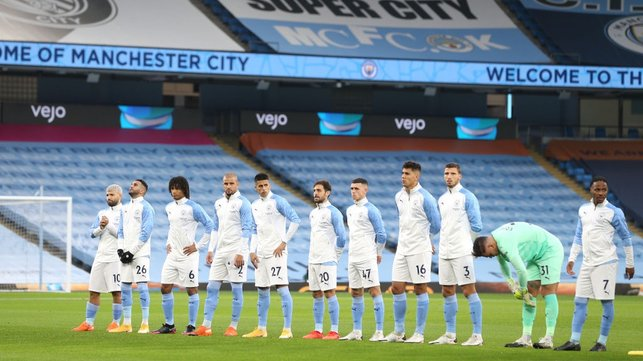 SQUAD GOALS : The starting team arrive on the Etihad pitch ahead of kick-off.