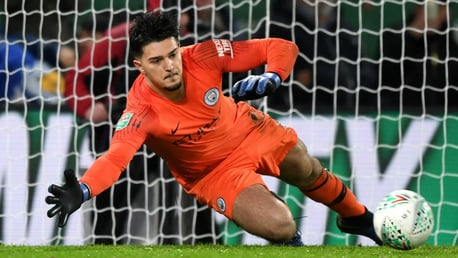 SPOT ON: Aro Muric saves one of Leicester's penalty kicks
