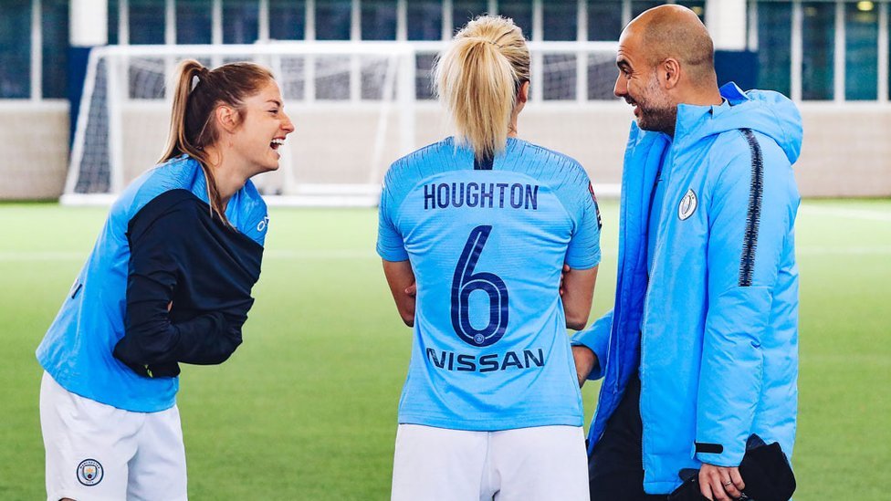 RELAXED MOMENT : For Janine Beckie, Steph Houghton and Pep Guardiola