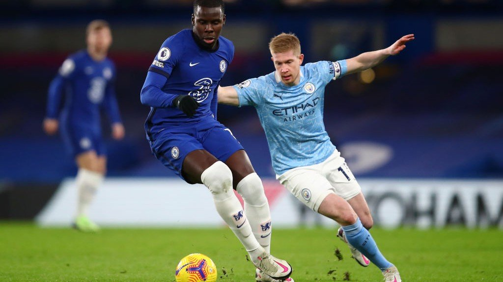 KEV ON THE CASE: Kevin De Bruyne puts Kurt Zouma under pressure early on