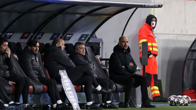 BOSSING IT: Pep Guardiola watches on from the bench