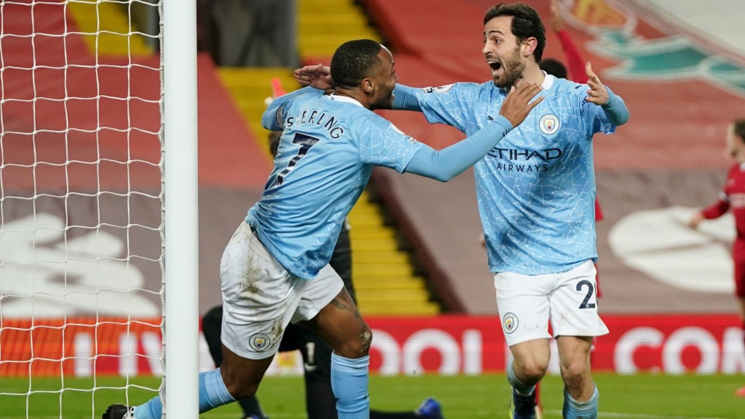 STERLING SERVICE: Raheem shows his appreciate to Bernardo after his delicate assist.