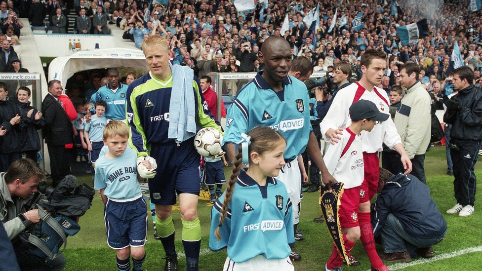 TUNNEL CLUB: City step out at Maine Road for the last time