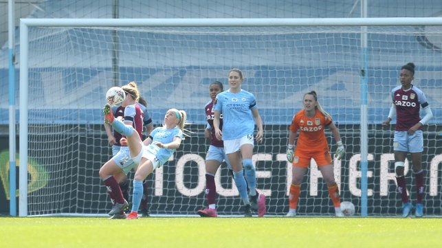 SPECTACULAR STRIKE: Chloe Kelly grabs her first City hat-trick, which includes an outstanding bicycle kick, as we beat Aston Villa 8-0 in the Women's FA Cup - our fifth round clash with West Ham is available to watch live this Sunday on CITY+