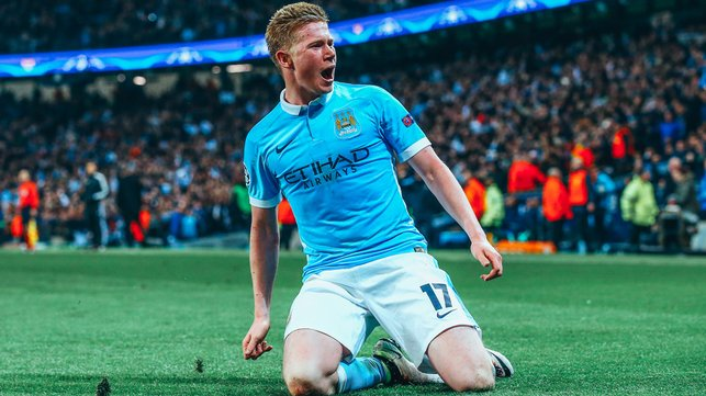 GOL AKHIR LAGA : Gol De Bruyne melawan PSG pada 2016 mengirim City ke semifinal Liga Champions untuk pertama kalinya.