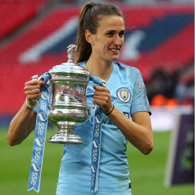 UP FOR THE CUP: Jill was a Wembley winner again in 2019 when we beat West Ham to lift the FA Women's Cup once again