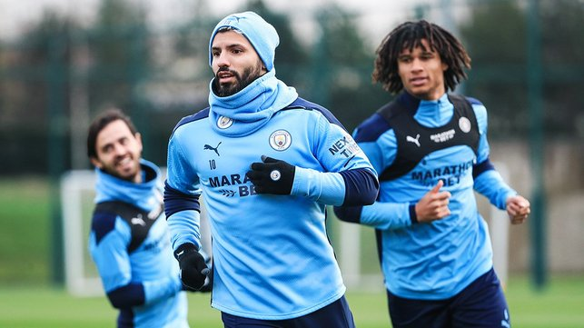 CATCH ME IF YOU CAN : Sergio Aguero and Nathan Ake are put through their paces