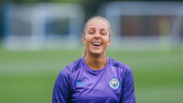 PEARLY WHITES : Ellie Roebuck looks pleased to be back!