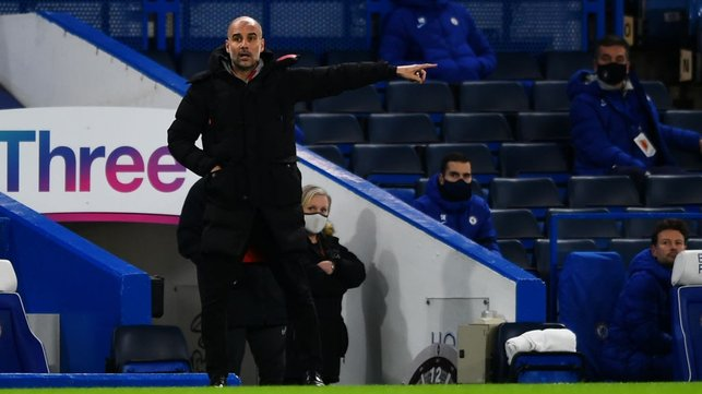 THE BOSS: Pep Guardiola dishes out some instructions