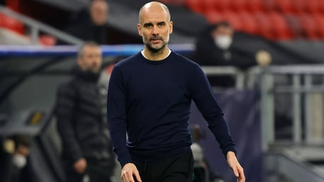 SUPER PEP: The boss patrols the touchline at the Puscas Stadium.