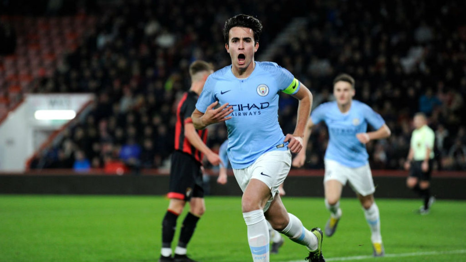 INSPIRATION: Eric Garcia celebrates after scoring with a superb header in our FA Youth Cup quarter-final win at Bournemouth