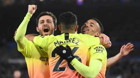 THREE CHEERS: Bernardo, Riyad Mahrez and Gabriel Jesus are all smiles after Gab's late effort