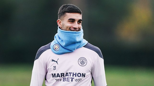 SNOODS YOU SIR: Ferran Torres was grateful for his City snood on what was a crisp late Autumn day