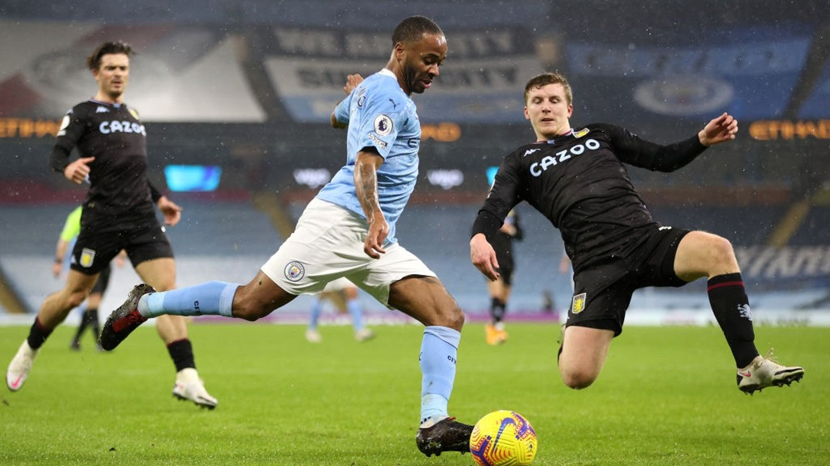 WING PLAY: Raheem Sterling whips in a cross from the right