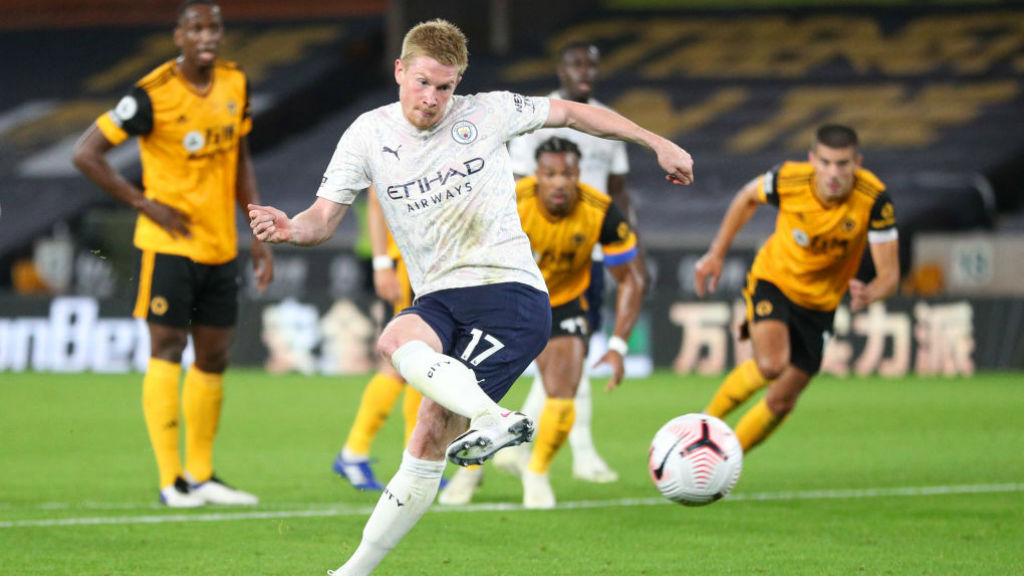 MIDDLE MAN: Kevin De Bruyne fires home from the penalty spot