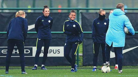 ALL SMILES: The City squad were in buoyant spirits despite the wintry weather