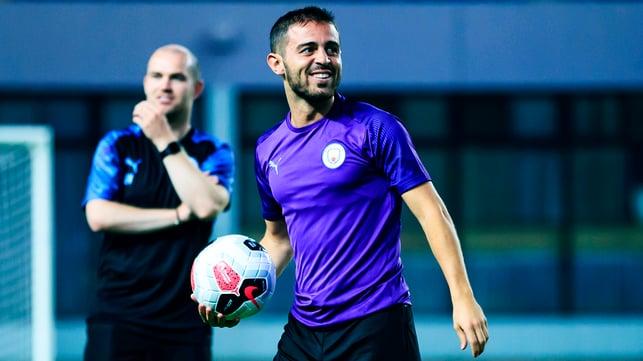 PURPLE REIGN : Bernardo Silva is in upbeat spirits as the session gets underway