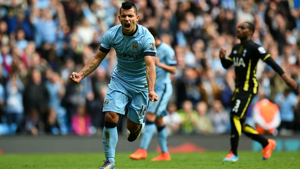 ROAR POWER : Kun can't contain his delight after bagging another treble, with Aguero eventually claiming four in total against Spurs in 2014
