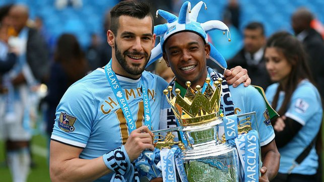 A LEAGUE OF OUR OWN : Ferna and Alvaro Negredo celebrate our Premier League title success at the end of his first season at the Club