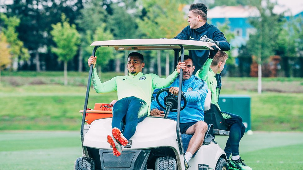 PARK THE BUS : The lads hitch a ride into training