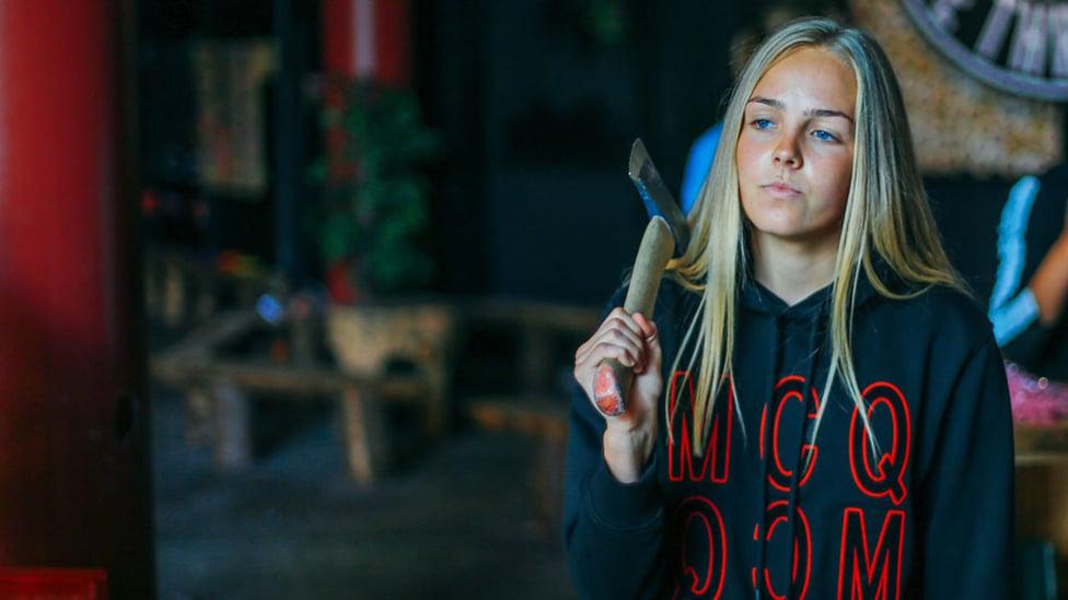 PENSIVE : Ellie Roebuck considers her next throw.