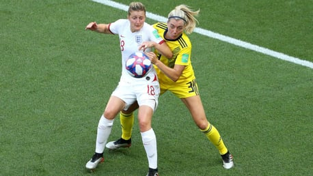 PASSION PLAY: Ellen White in the thick of the action against Sweden