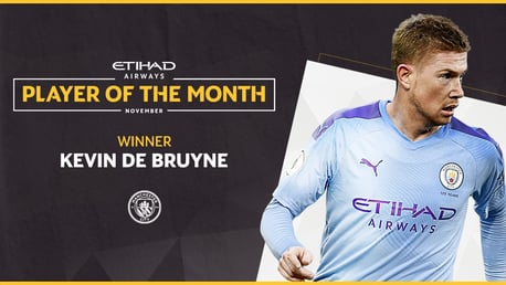 De Bruyne is November Etihad Player of the Month