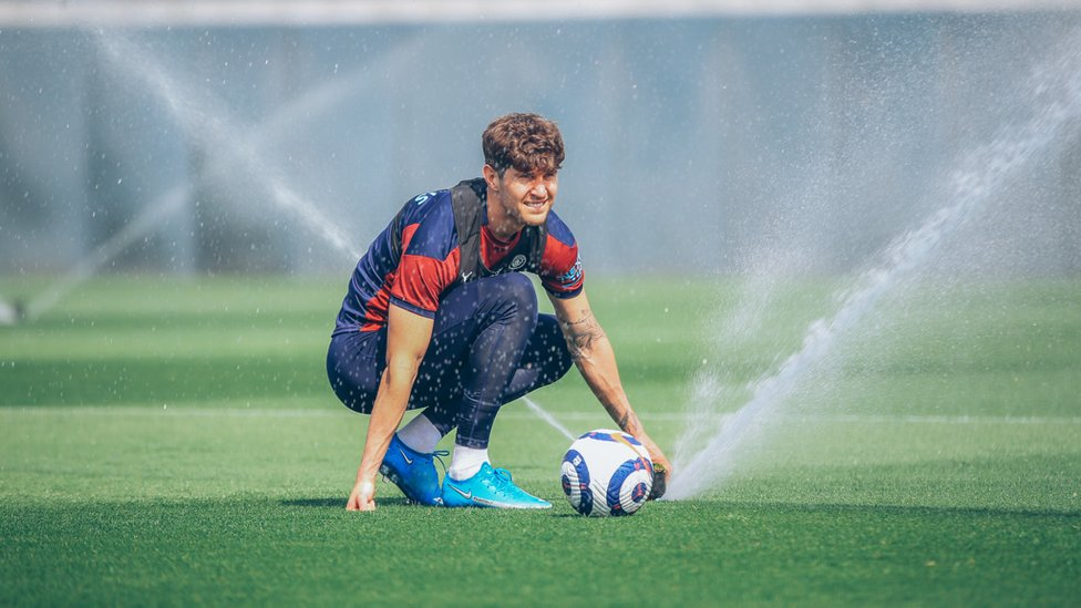 FOUNTAIN OF KNOWLEDGE: John Stones prepares for another training drill