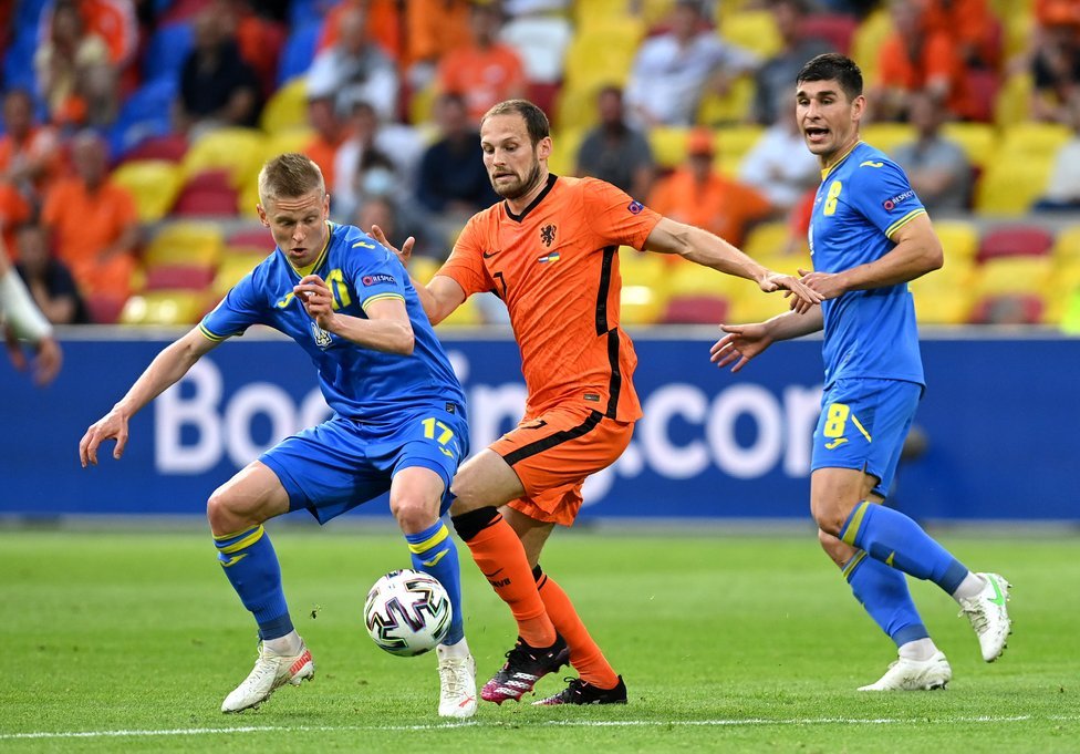 FAMILIAR FOE : Matchday One saw City teammates lock horns as Oleks Zinchenko's Ukraine and Nathan Ake's Netherlands went head-to-head in a five-goal thriller
