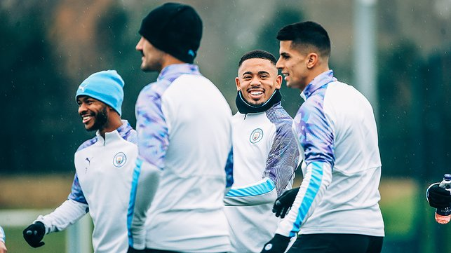 CENTRE OF ATTENTION : Gabriel Jesus was in ebullient spirits as he trained alongside Raheem Sterling, Ilkay Gundogan and Joao Cancelo