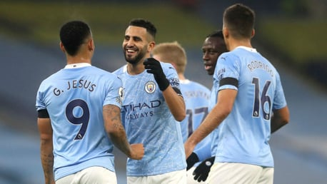 ALL SMILES: Riyad Mahrez is a picture of happiness after his second goal