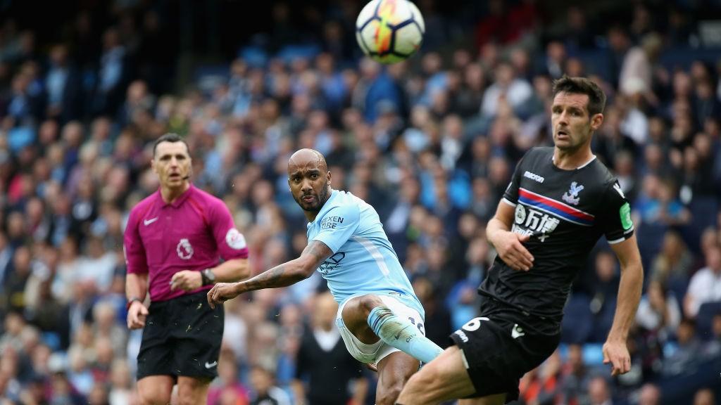 WONDER STRIKE: Fabian Delph hit's an unstoppable effort against Crystal Palace.