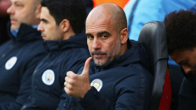 THUMBS UP : The boss is in positive mood on the touchlines