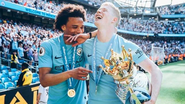 SILVER DREAM MACHINE: Leroy celebrates our 2018 Premier League title with Oleks Zinchenko
