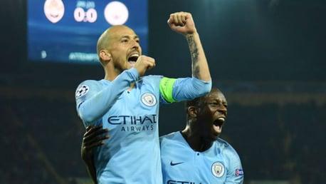 JUST CHAMPION: David Silva celebrates his stunning goal with Benjamin Mendy
