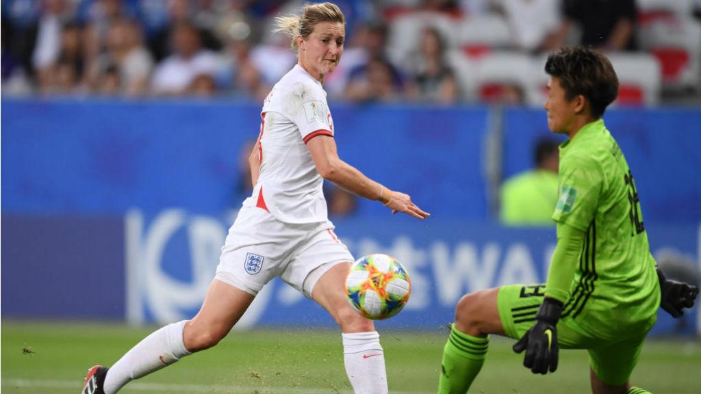 ON THE MARK : Ellen White fires England ahead against Japan