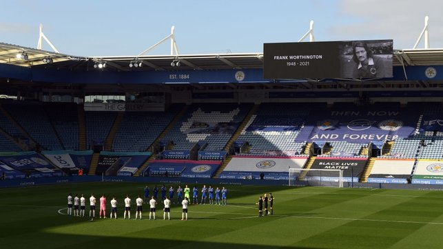 RESPECT : Both sets of players observe a minute of applause for former Leicester player Frank Worthington, who recently passed away.
