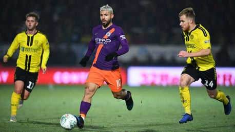 SERG-ING FORWARD: Sergio Aguero looks to start another City attack