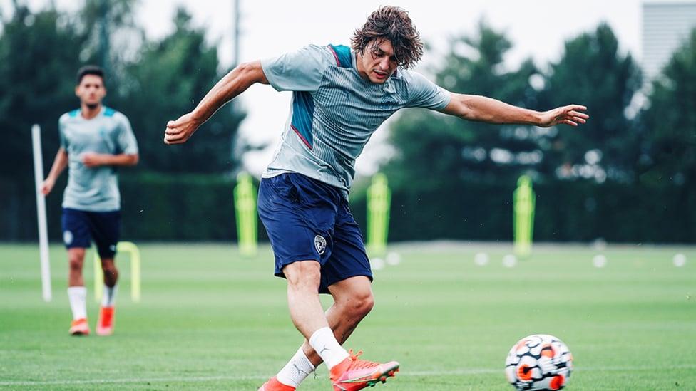 STRIKER: Pablo Moreno puts his foot through the ball