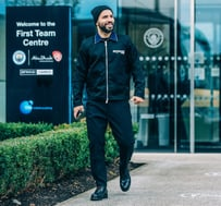 ACTION STATIONS: Sergio Aguero looks ready for business as he leaves the CFA en route for the airport