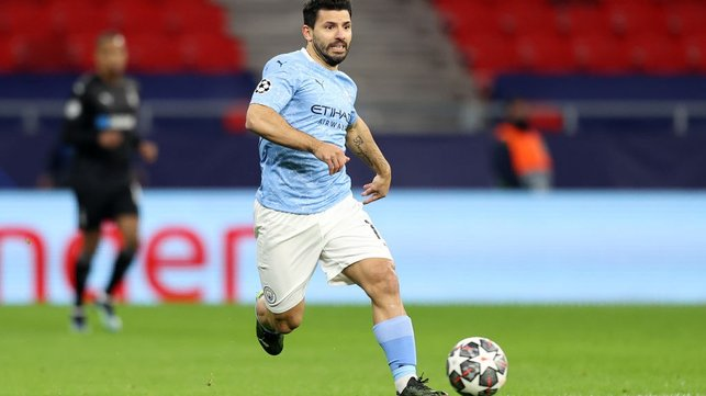 SERGE OF PACE: Sergio Aguero races forward after coming off the bench