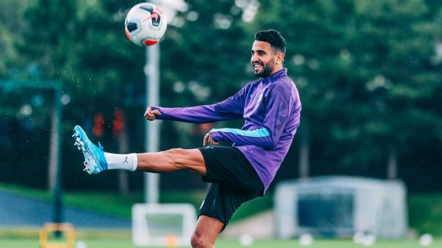 KEEPY-UPPY : Our Algerian winger gets a feel of the ball