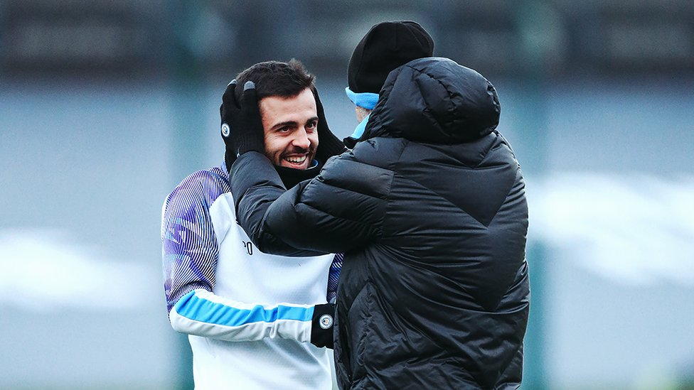 BACK IN BUSINESS : The boss gives a warm welcome to Bernardo Silva