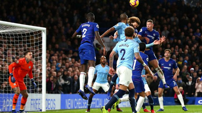 LEAD DOUBLED : Luiz heads home Chelsea's second
