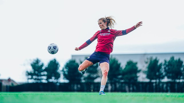 TARGET PRACTICE : Sam Mewis lines up a volley. We all know where that's ending up!
