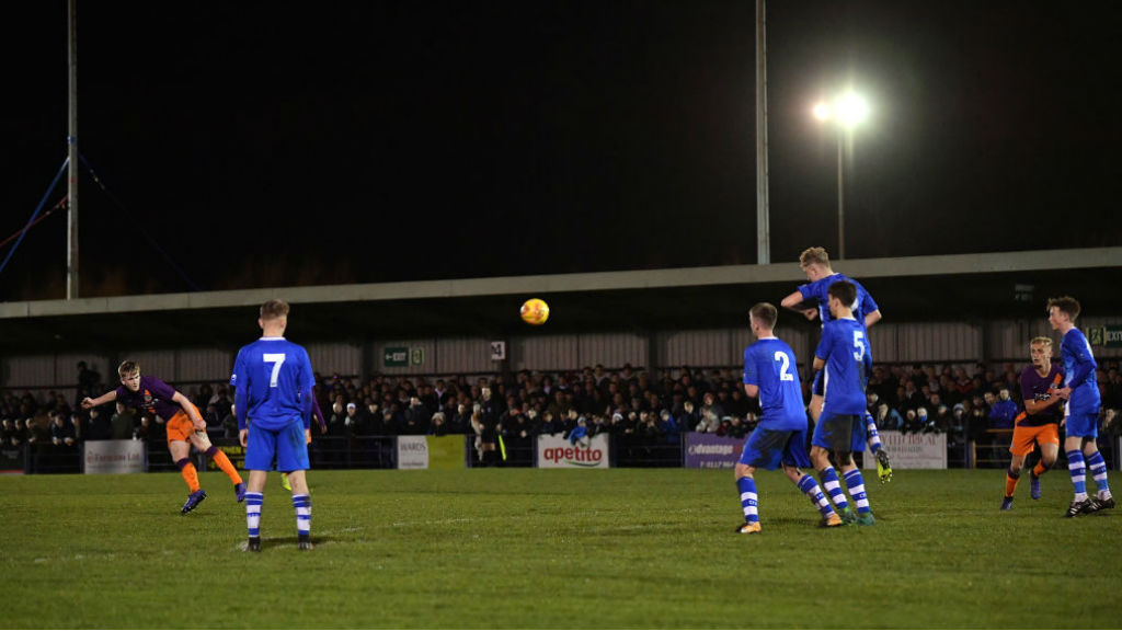 WHAT A STRIKE : Tommy Doyle fires home his spectacular free-kick to put City 2-0 ahead