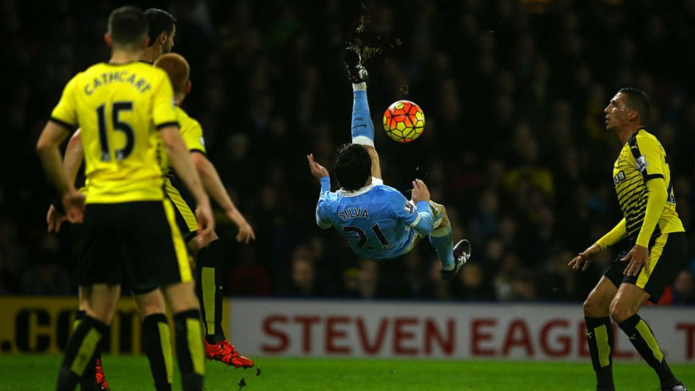 Top flight 200 : Although this impressive overhead kick may have not resulted in a goal, our midfielder made his 200th Premier League appearance against Watford in January 2016.
